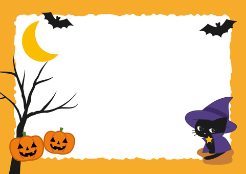 Black cat and Halloween frame