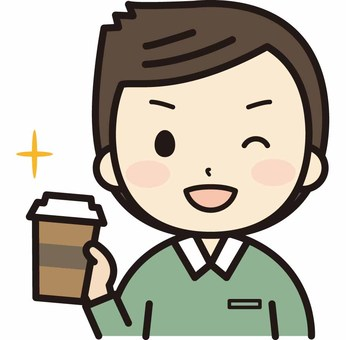 Men with takeaway coffee