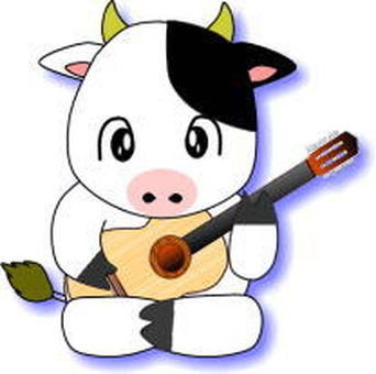Cow playing the guitar