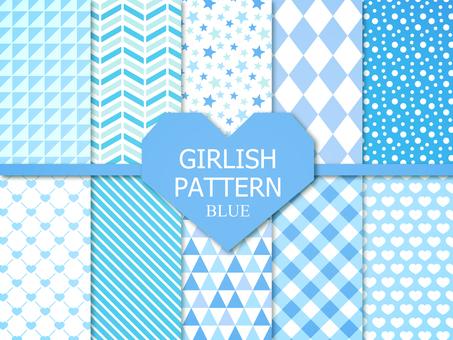 Girly pattern 【Blue】
