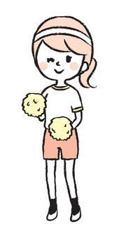一個女孩歡呼與絨球的插圖