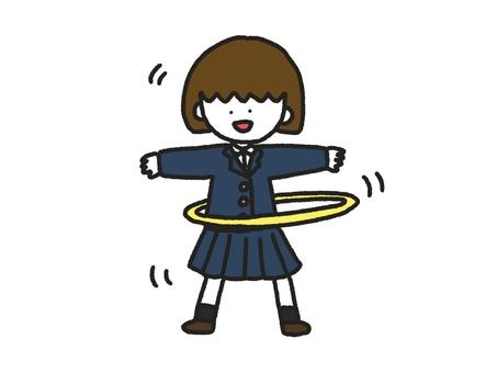 Girl doing hula hoop