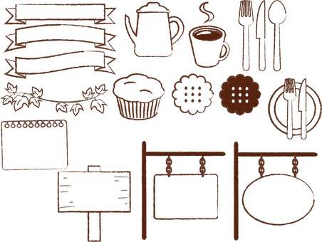 Hand-drawn cafe material set