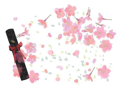Background of cherry blossoms and graduation