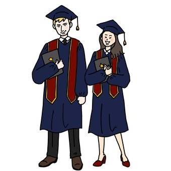 Illustration of a graduation ceremony in a foreign country