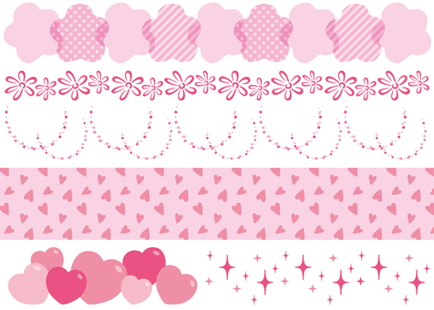 Flower Heart Glitter Decoration Pink