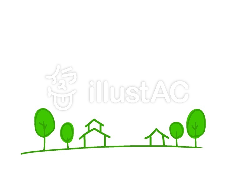 木々と家シンプルイラスト No 1355877無料イラストならイラストac