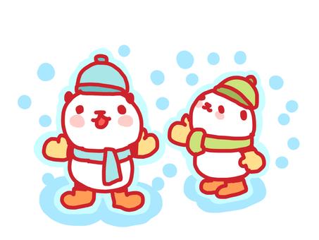 雪とパンダ