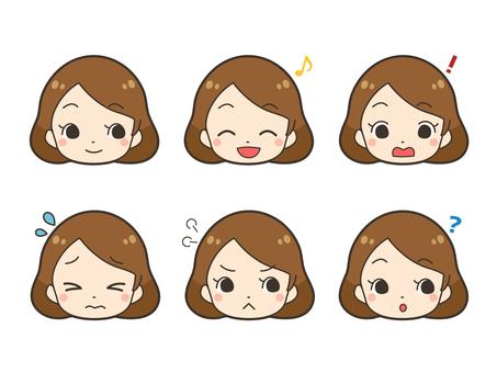 Women illustration facial expression set