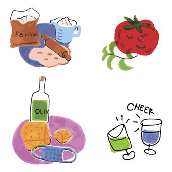 Watercolor illustration set