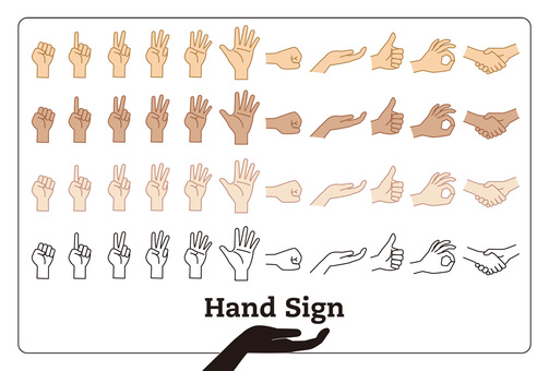 Hand sign set