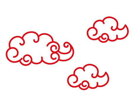 赤い中華雲 イラスト