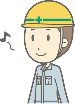 工事男性a-歩く-バスト