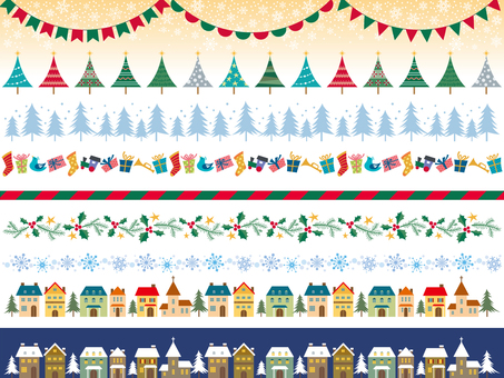 Set of Christmas decorative borders