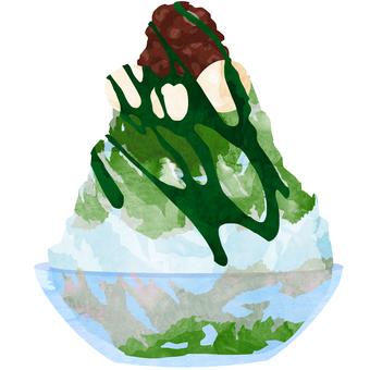 かき氷 (抹茶あずき白玉) ⑦ 水彩