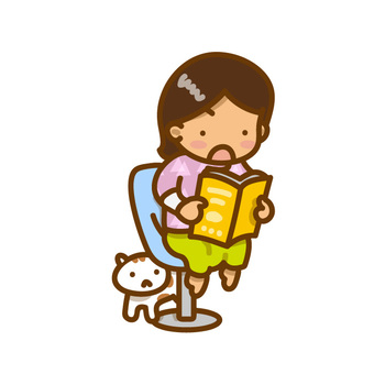 Girls and cats sitting in a chair to read books