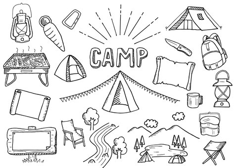 Camp related Illustration Set