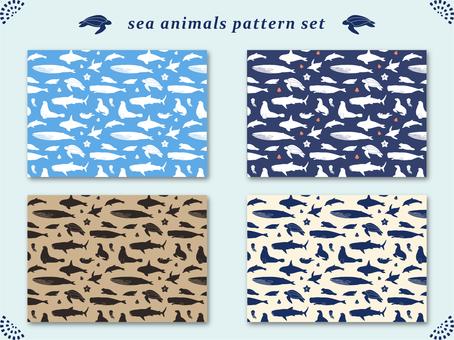 바다 생물의 실루엣 패턴
