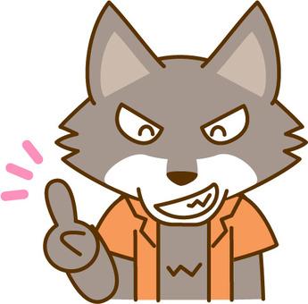 指著一個手指的狼人