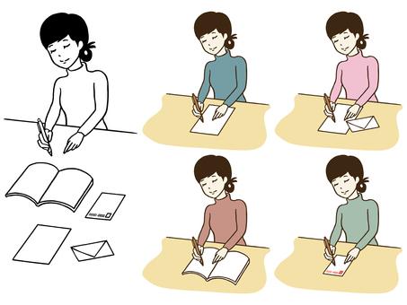 Illustration and set of ladies writing
