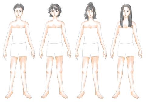Fashion illustration black hair body 04