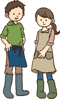 Apron and boys in boots