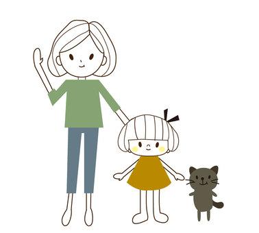 mama-child and cat