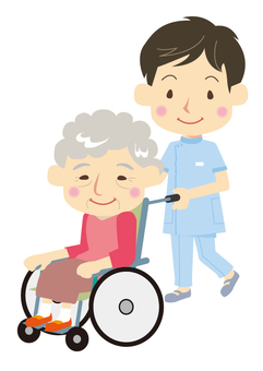 Nurse and wheelchair grandma