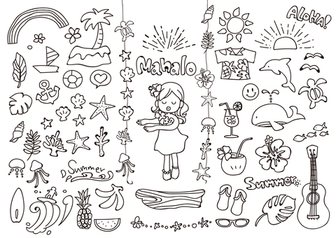 Postcard's Tropical Illustration Set (Line drawing)