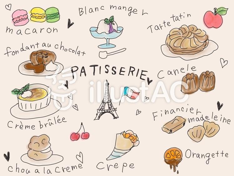 フランス菓子(ベージュ)のイラスト