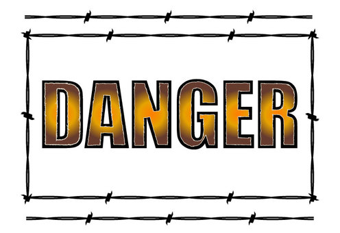 DANGER logo and barbed wire
