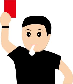 레드 카드를내는 축구 심판