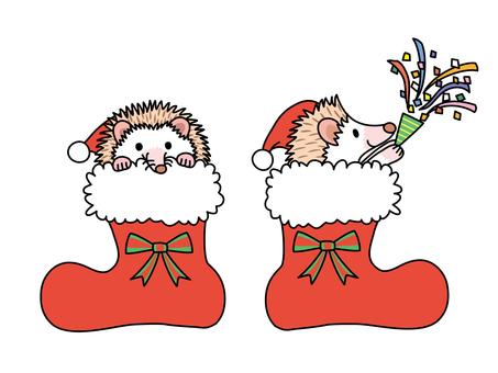 Santa boots and hedgehog