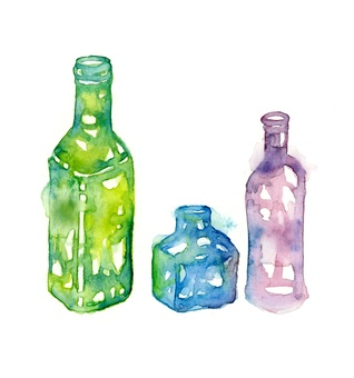 Hand drawn watercolor empty glass bottle