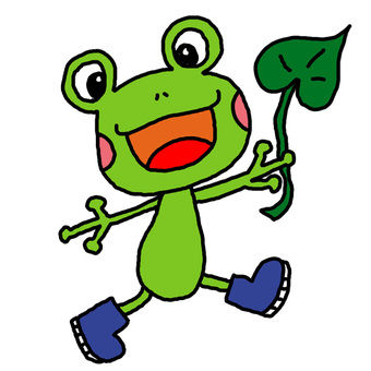 Frog of blue boots