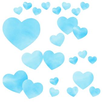 淺藍色水彩心