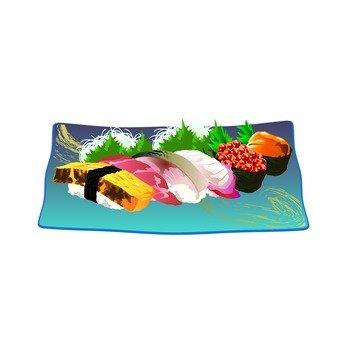 Sushi (blue dish)