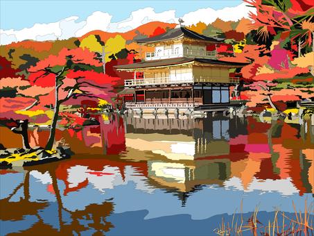 Kinkakuji in autumn leaves