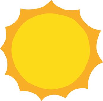 Cute hand-painted summer glittering sun