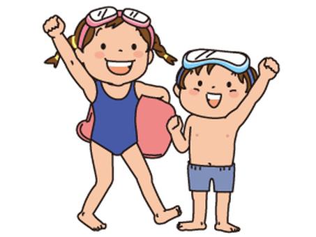 Two swimwear children, a beat board