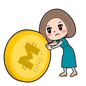 Green dress young woman coin rolling