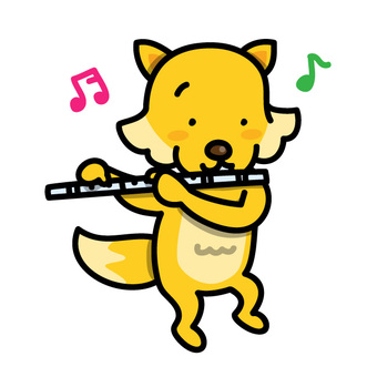 Mr. Fox playing the flute