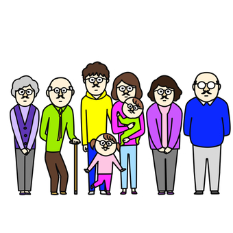 Family with beard wearing glasses