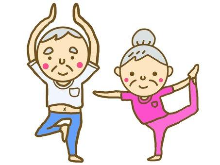 A couple enjoying yoga