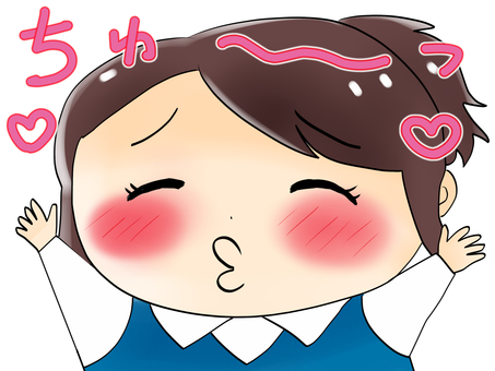 A girl character approaching a kiss