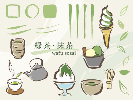 Hand-painted material _ green tea green tea motif