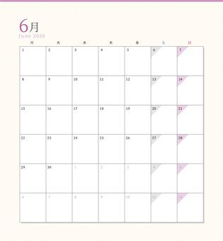 Simple calendar June 2020