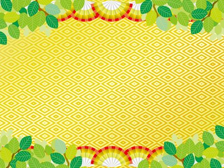Pattern (161) Fan and gold and fresh green in summer