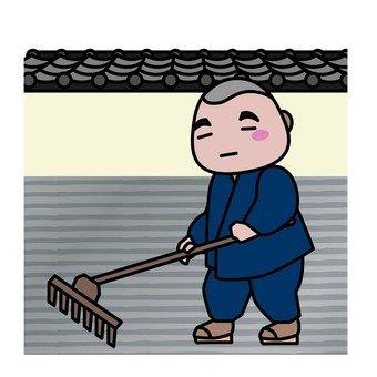 A monk who uses rake