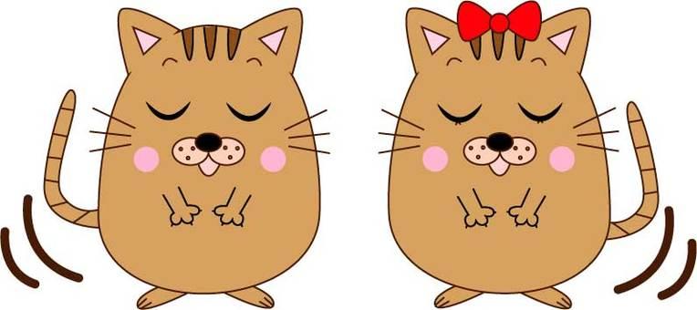 인사하는 고양이 커플